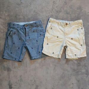 2 pairs of boys size 5 nautical shorts